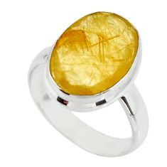 6.04cts solitaire faceted golden rutile 925 sterling silver ring size 6 r51317