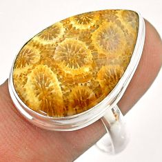 16.70cts solitaire fossil coral petoskey stone 925 silver ring size 11 t54375