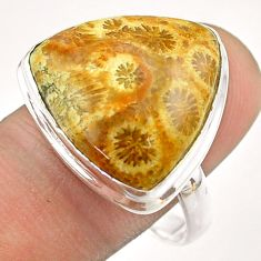17.11cts solitaire fossil coral petoskey stone 925 silver ring size 10.5 t54552