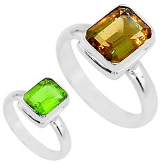 3.26cts solitaire green alexandrite (lab) 925 sterling silver ring size 7 t15441