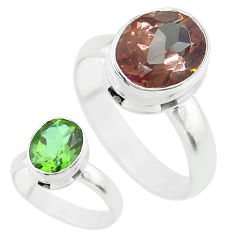 4.26cts solitaire green alexandrite (lab) 925 sterling silver ring size 9 t56965