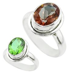 4.23cts solitaire green alexandrite (lab) oval 925 silver ring size 6.5 t56943