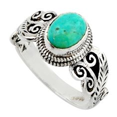2.09cts solitaire green arizona mohave turquoise 925 silver ring size 8.5 r40723