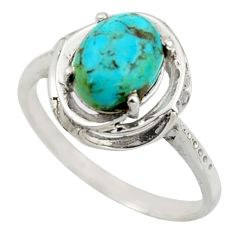 3.29cts solitaire green arizona mohave turquoise 925 silver ring size 8.5 r41903