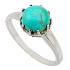 2.73cts solitaire green arizona mohave turquoise 925 silver ring size 8.5 r41961