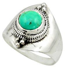 2.46cts solitaire green arizona mohave turquoise 925 silver ring size 7 r41882