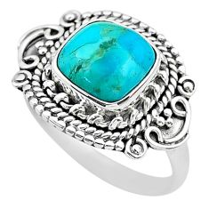 3.07cts solitaire green arizona mohave turquoise 925 silver ring size 7 t20111