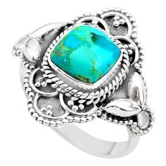 3.40cts solitaire green arizona mohave turquoise 925 silver ring size 8 t20025