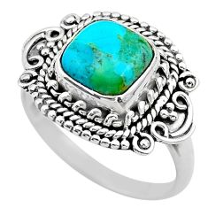 3.27cts solitaire green arizona mohave turquoise 925 silver ring size 8 t20107