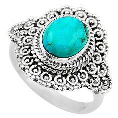 4.17cts solitaire green arizona mohave turquoise 925 silver ring size 8 t20133