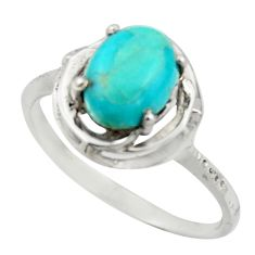 3.29cts solitaire green arizona mohave turquoise 925 silver ring size 9 r41902