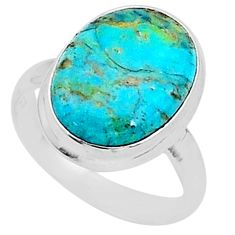 10.29cts solitaire green arizona mohave turquoise 925 silver ring size 9 t1572