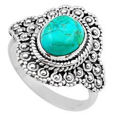 4.15cts solitaire green arizona mohave turquoise 925 silver ring size 8.5 t20134