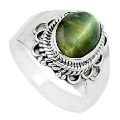 4.14cts solitaire green cats eye 925 sterling silver ring jewelry size 8 t15466