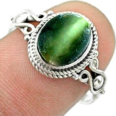 4.18cts solitaire green cats eye 925 sterling silver ring jewelry size 8 t57445