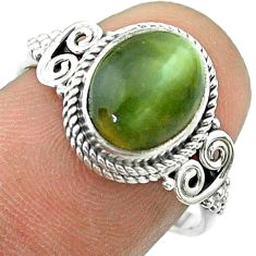 4.34cts solitaire green cats eye 925 sterling silver ring jewelry size 8 t57498