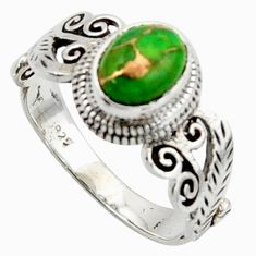 1.94cts solitaire green copper turquoise 925 silver ring jewelry size 8.5 r40732