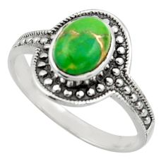1.81cts solitaire green copper turquoise 925 sterling silver ring size 7 r41931