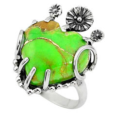 9.04cts solitaire green copper turquoise 925 sterling silver ring size 7 t6434