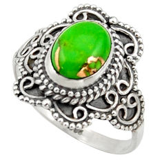 3.01cts solitaire green copper turquoise 925 sterling silver ring size 8 r41994