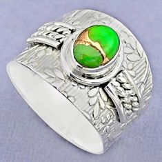 1.95cts solitaire green copper turquoise oval 925 silver ring size 8.5 t37183