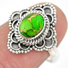 1.84cts solitaire green copper turquoise oval 925 silver ring size 7.5 t43985