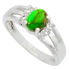 2.08cts solitaire green copper turquoise topaz 925 silver ring size 8 r40792