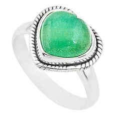 4.38cts heart green jade 925 sterling silver ring jewelry size 8 t21781
