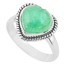 4.82cts heart green jade 925 sterling silver ring jewelry size 8 t21795