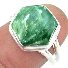 6.57cts solitaire green seraphinite 925 silver hexagon ring size 7.5 t55125