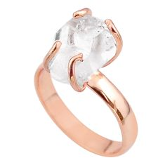 5.06cts solitaire herkimer diamond 925 silver 14k rose gold ring size 7 t49302