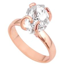 5.06cts solitaire herkimer diamond 925 silver 14k rose gold ring size 7 t49303
