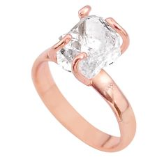 4.80cts solitaire herkimer diamond 925 silver 14k rose gold ring size 7 t49309