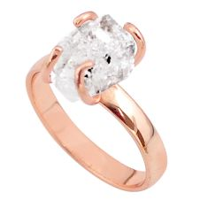 4.99cts solitaire herkimer diamond 925 silver 14k rose gold ring size 8 t49316