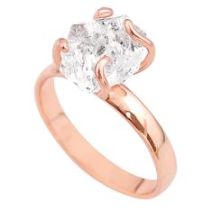 5.23cts solitaire herkimer diamond 925 silver 14k rose gold ring size 9 t49306