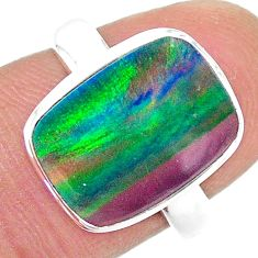 4.42cts solitaire lab volcano aurora opal 925 silver ring size 7 t23358