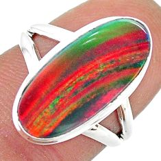 4.28cts solitaire lab volcano aurora opal 925 silver ring size 5.5 t23341