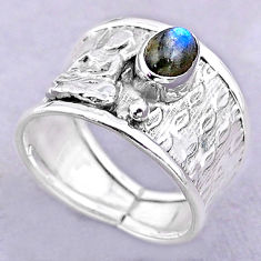 1.51cts solitaire labradorite 925 silver buddha meditation ring size 8.5 t32422