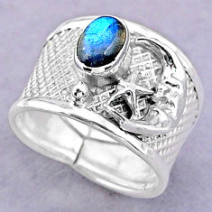 1.47cts solitaire labradorite 925 silver crescent moon star ring size 7 t32457