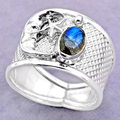 1.59cts solitaire labradorite 925 silver crescent moon star ring size 8 t32455