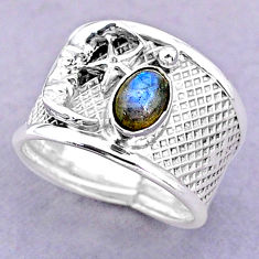1.58cts solitaire labradorite 925 silver crescent moon star ring size 8 t32456