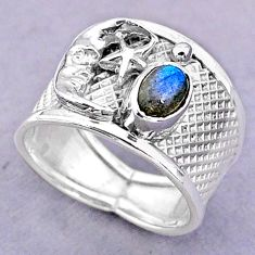 1.47cts solitaire labradorite 925 silver crescent moon star ring size 7.5 t32459