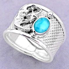 1.51cts solitaire larimar 925 silver crescent moon star ring size 7.5 t32452