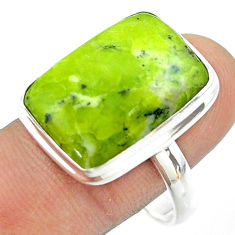 17.57cts solitaire lizardite (meditation stone) 925 silver ring size 11 t54130