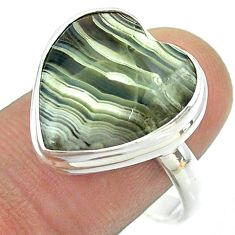 14.90cts solitaire mexican laguna lace agate 925 silver ring size 10 t54142
