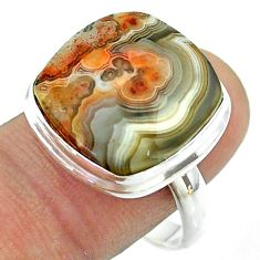 16.24cts solitaire mexican laguna lace agate 925 silver ring size 10 t54156