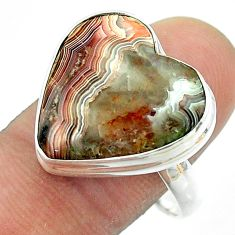 15.85cts solitaire mexican laguna lace agate 925 silver ring size 10 t54159