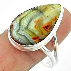 15.85cts solitaire mexican laguna lace agate 925 silver ring size 11 t54155