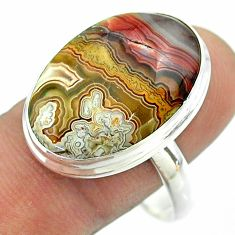 17.98cts solitaire mexican laguna lace agate 925 silver ring size 11 t54158