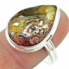 13.87cts solitaire mexican laguna lace agate 925 silver ring size 9 t54151
